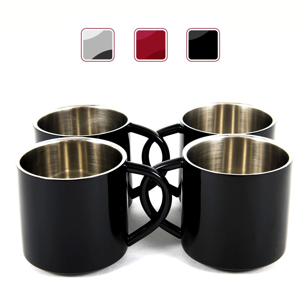 Black Stainless Steel Double Wall Espresso Cups, XL, Set of 4