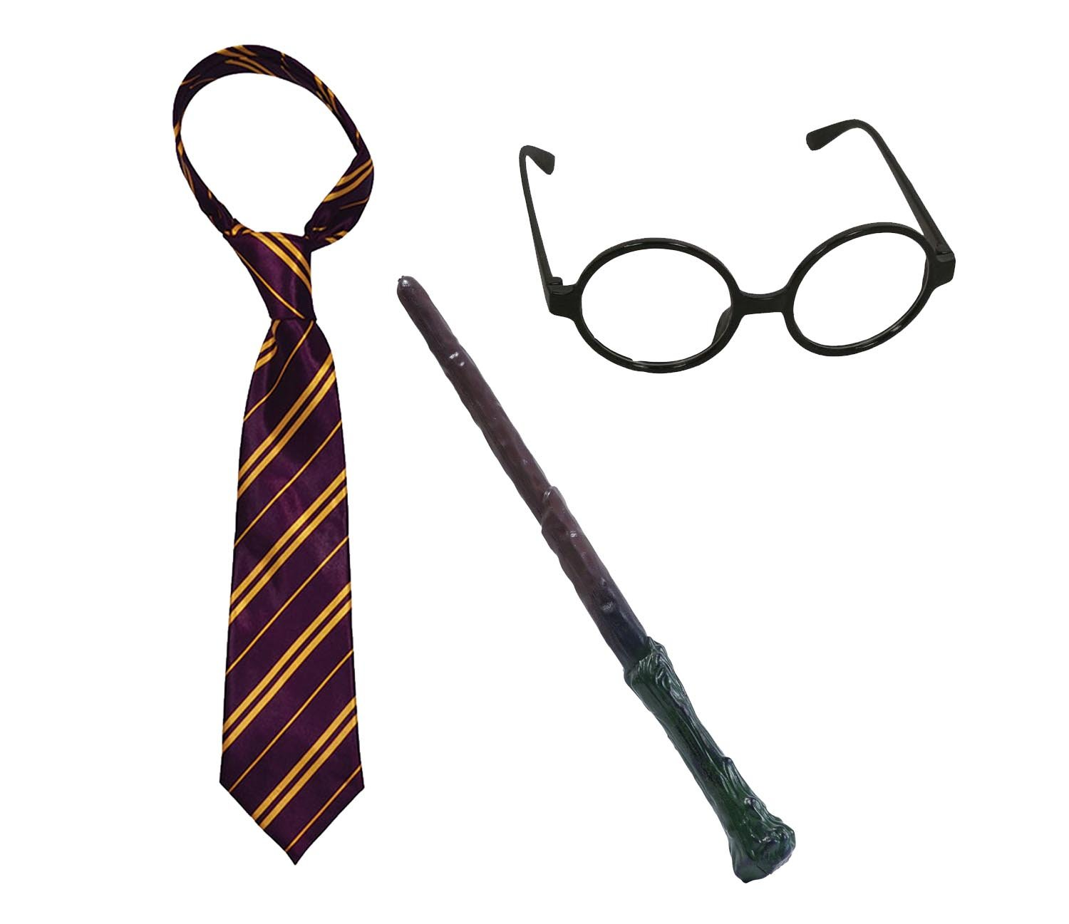 WIZARD ROUND GLASSES PLASTIC BRANCH WAND BOOK DAY FANCY DRESS ACCESSORIES