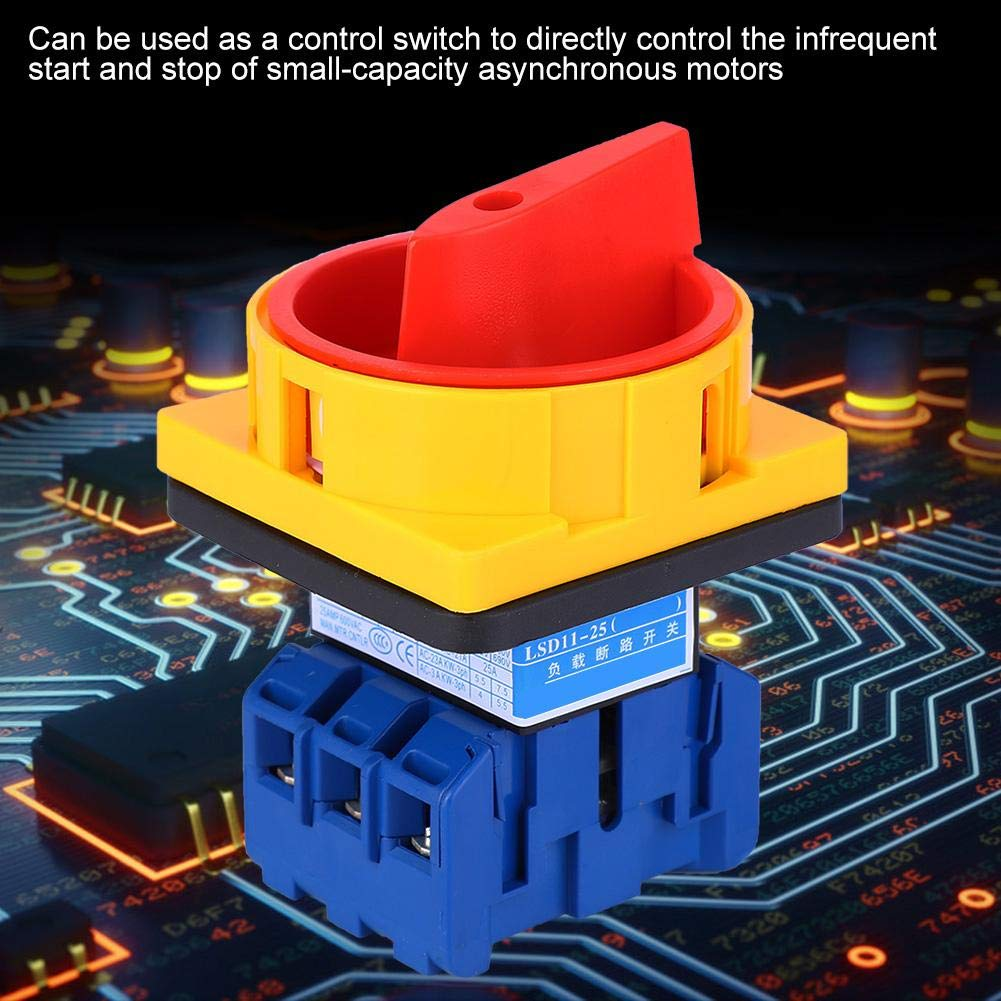 Plastic 2 Positions Locked Action Type Changeover Switch AC600V 25A for Industrial Home 2 Positions Change-Over Switch