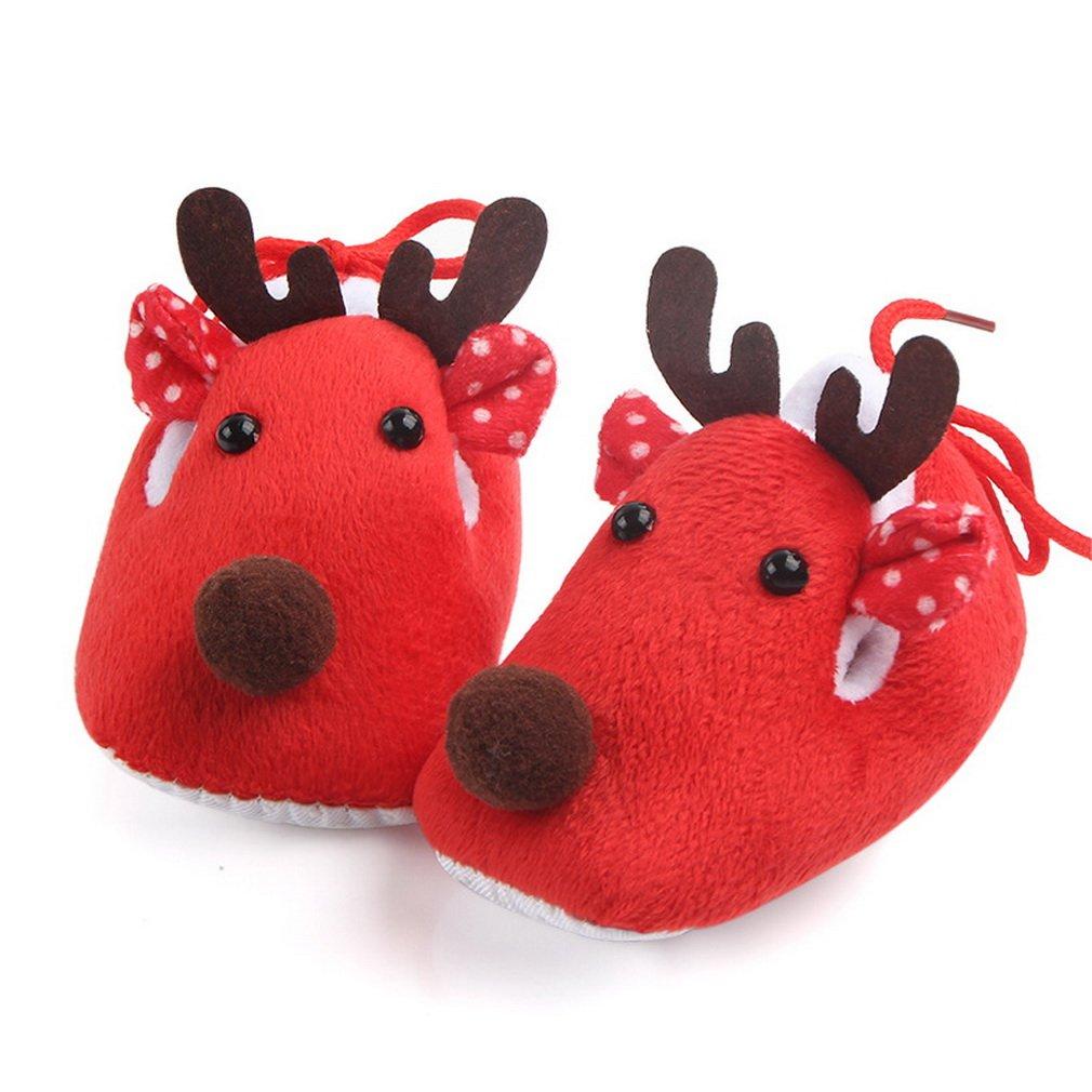 COMVIP Super Soft Sole Plush Baby Deer Toddler Shoes Slipper