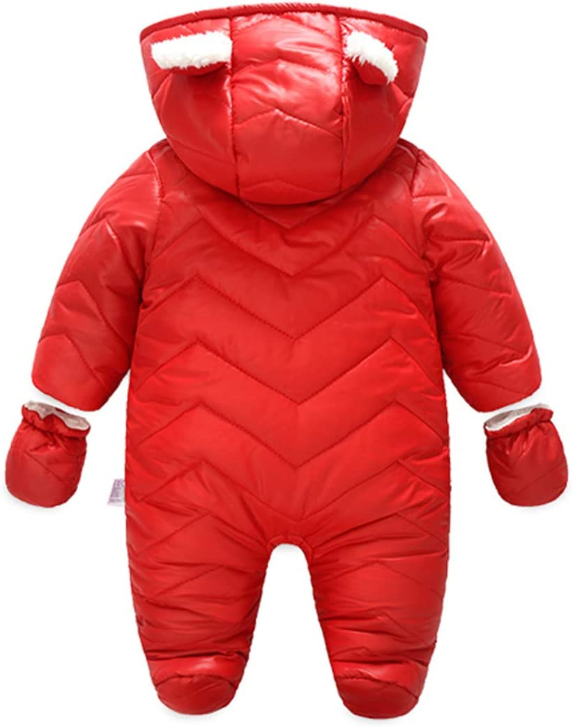 Red 80CM No Footed Toddler Girls Winter Playsuit Long Sleeve Warm Romper Zipper Fly Bodysuits
