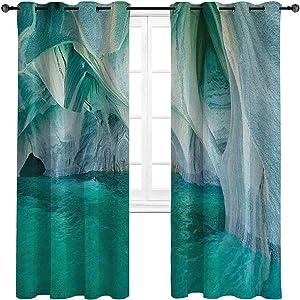 "carmaxshome Curtains & Drapes 96 inch Length, Nature Cute Window Curtains - Natural Marble Cave at European Mediterranean Lake Geologic Eroded Artwork Photo Each 42"" x 96"", Turquoise Grey"