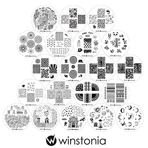 Winstonia Fourth Generation Nail Art Stamping Plates Set 20 pc - Water-marbling, Floral, Diamonds, Galaxy, Fantasy, Panda and more Cute Images