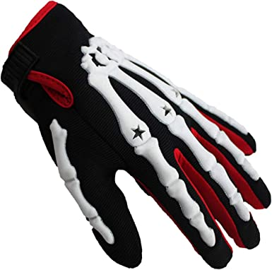 LLKSS Skeleton Hand Bones Mountain Bike Ride Full Finger Gloves ...