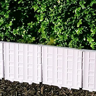 Decorative Garden Partitions Interlocking Border Edging Set 12-pack White