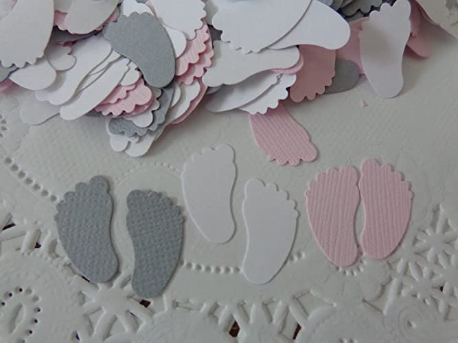 Amazon Light Pink Grey And White Baby Feet Confetti 34 Tall