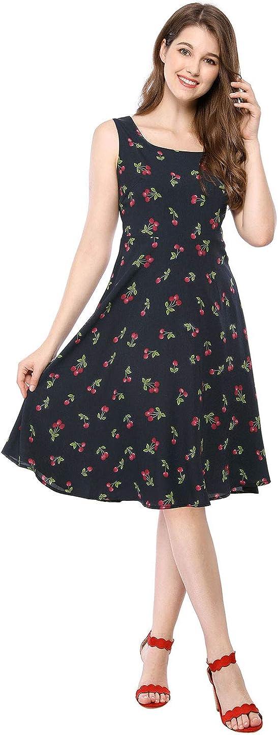 US Seller Girls Dress Cherry Flower Green Leaves Print Striped Size 3-8