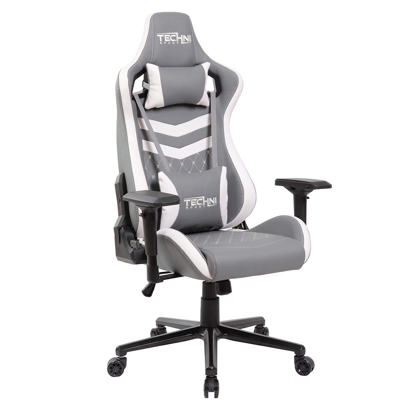 Modern Design Ergonomic High Back Racer Style Video Gaming Chair Two Tone Grey-White by Modern Design