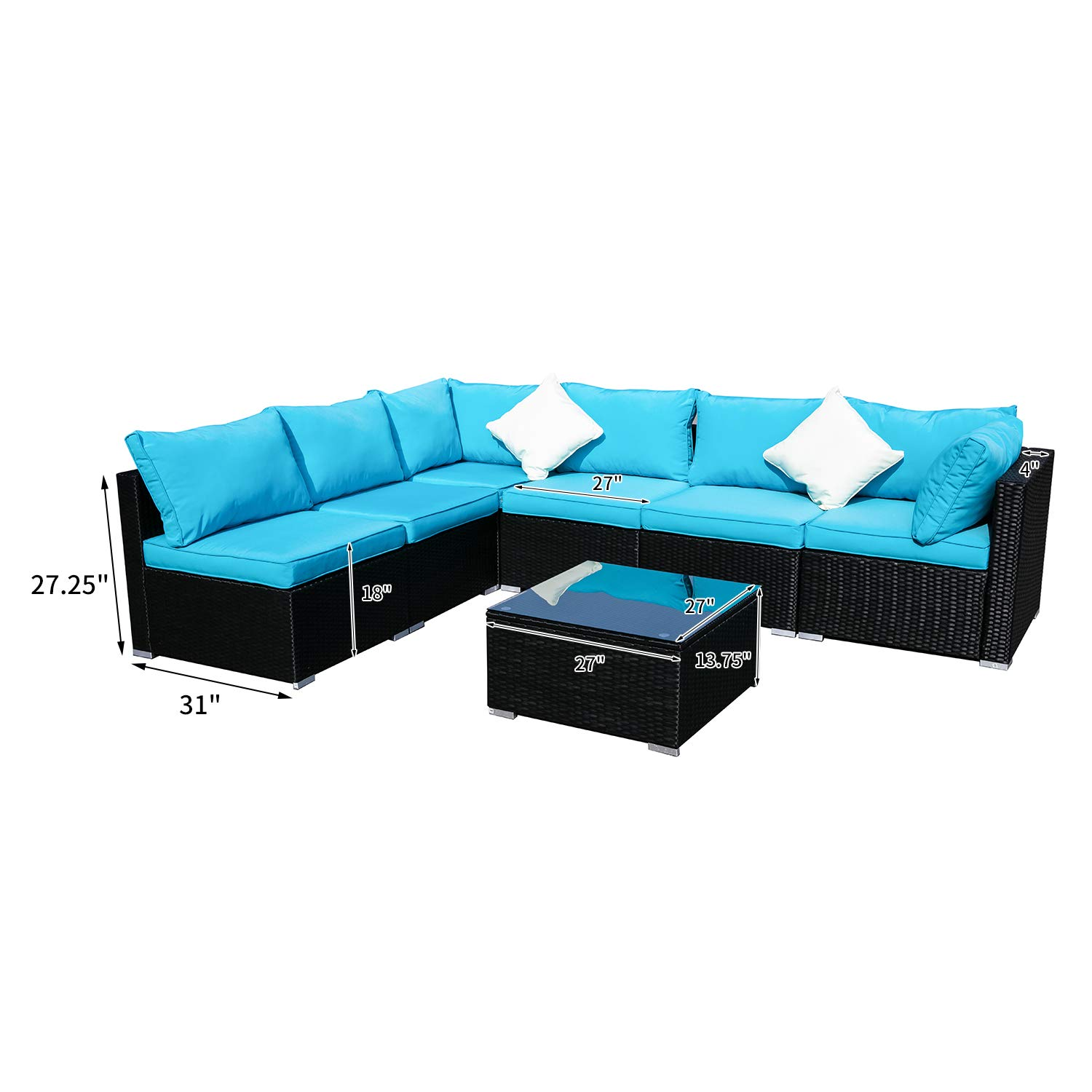 Outdoor Basic Patio Furniture 7-Pieces PE Rattan Wicker Sectional Blue Cushioned Sofa Sets with 2 Pillows