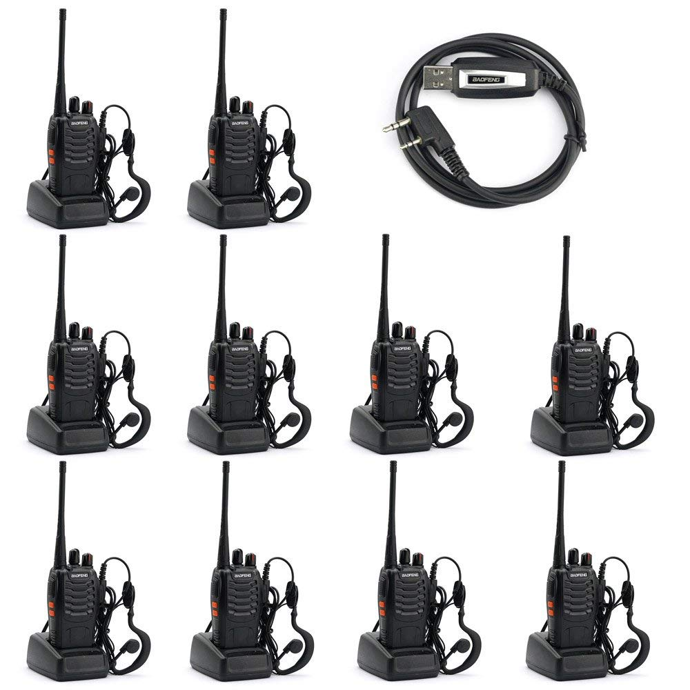 Baofeng BF-888S Two Way Radio (Pack of 10) and USB Programming Cable (1PC) by BAOFENG