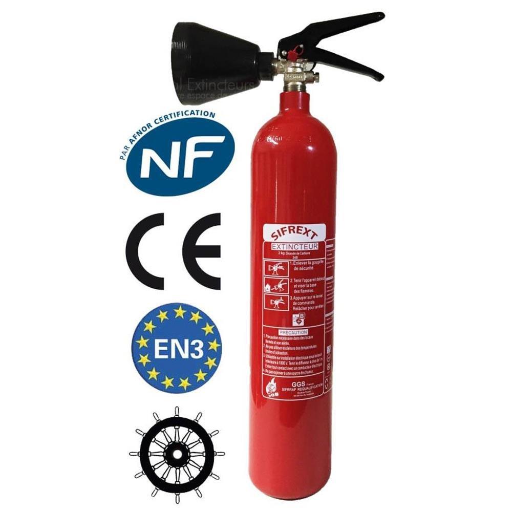 SExtincteur CO2 capacité 2 Kg NF avec support de fixation