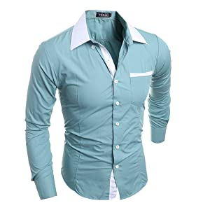 Men's Koren Style Fashion Candy Color Slim Fit Solid Color Long Sleeve Cotton Casual Shirts(L(TAG:XXL),greygreen)