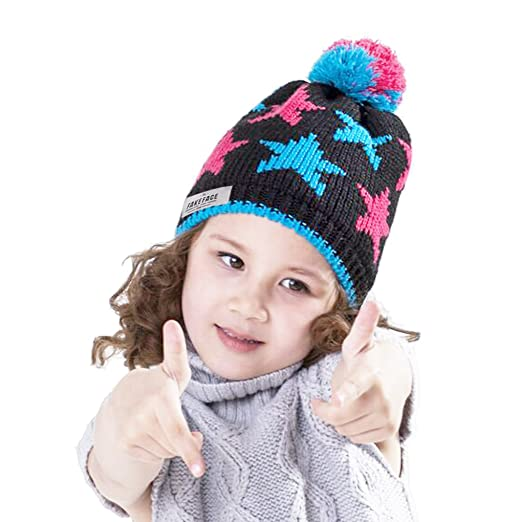 Kids Girls Slouchy Beanie Knit Hats Pompom Toddlers Winter Warm Hat Caps  Children Crochet Hat ( 9fd0e011e56