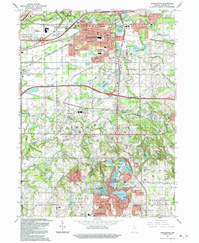 Chesterton IN topo map, 1:24000 scale, 7.5 X 7.5 Minute, Historical, 1991, updated 1992, 26.9 x 22 IN - - Map Park Crocker