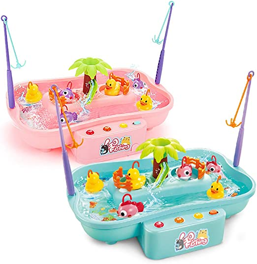 good01 Kids Electric Music Rotary Water Fishing Poor Parent-Child Interaction Puzzle Toy Red 6 Ducks//Fish