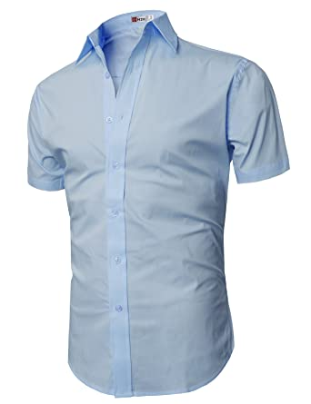 H2H Mens Casual Slim Fit Button Down Short Sleeve Shirts Of ...