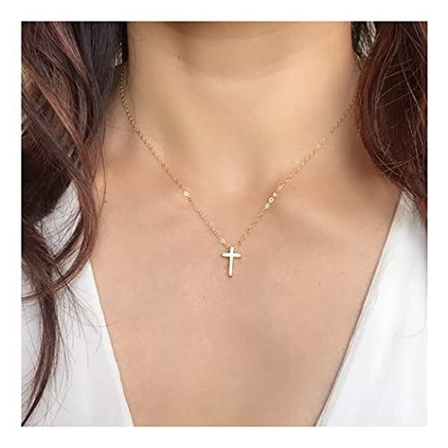 1ea390872fc6 Suecy Gold Tiny Cross Dainty Necklace 18K Gold Plated Cute Faith Crucifix  Jesus Christ Religious Chain