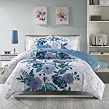 4 Piece Girls Floral Geometrical Comforter Set Twin/Twin XL, Decent Casual Flower Pattern, Abstract Garden Design Themed, Embroidered Fabric Reverse Bedding, Color Aqua, Light Purple, Green