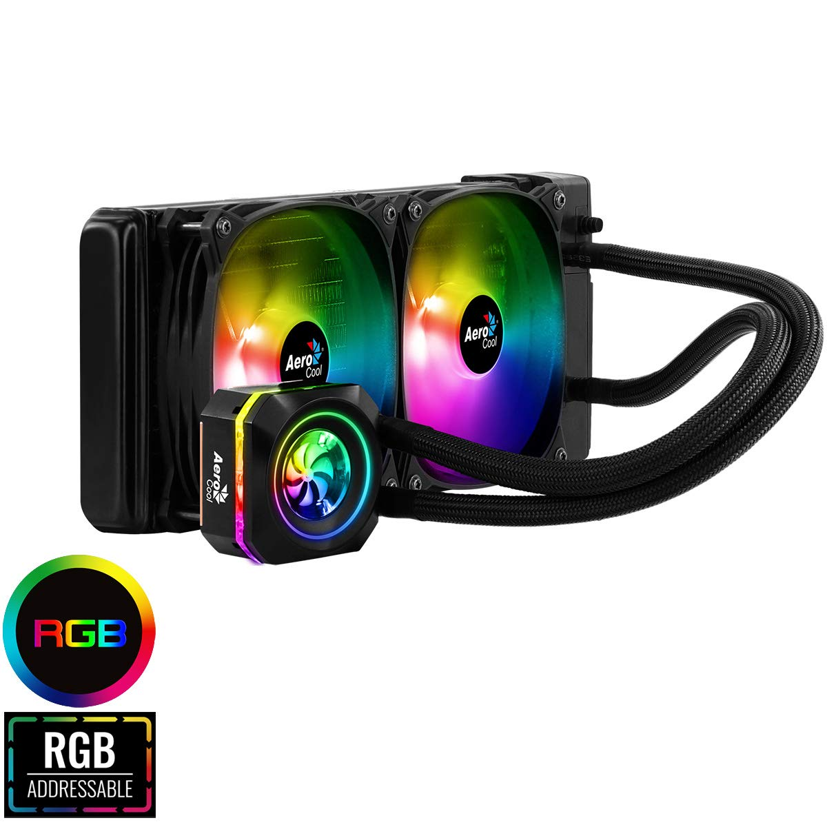 Aerocool Pulse 240mm ARGB AIO Water Cooling System, AMD & Intel Compatible, Two Addressable RGB Fans, Compatible With Asus Aura Sync, MSI Mystic Light Sync, Gigabyte RGB Fusion and ASRock RGB Sync