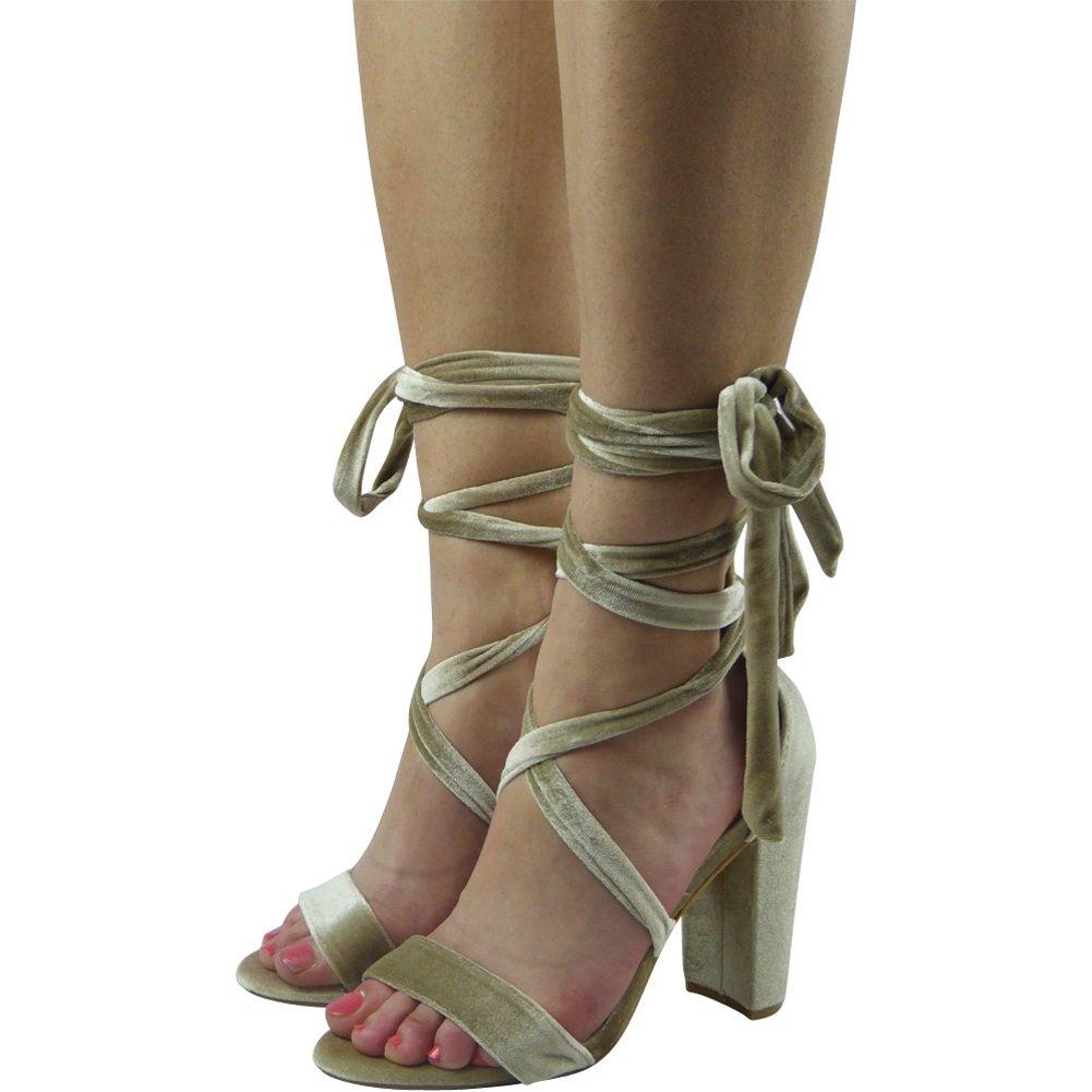 Nouvelles Attacher femmes Attacher En haut Peeptoe Des Sandales En Taille Taille 36-41 Beige cb94645 - digitalweb.space
