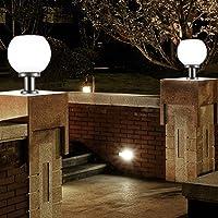Uonlytech 2 pcs led 200mm lámpara de pilar de luz de pared solar luz de bola redonda al aire libre (blanco)