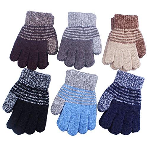 3 Pairs Children Kids Boy Girl Soft Imitation Wool Cashmere Knitted Winter Gloves Mittens Lined (Boy - Stretch Fleece Mittens