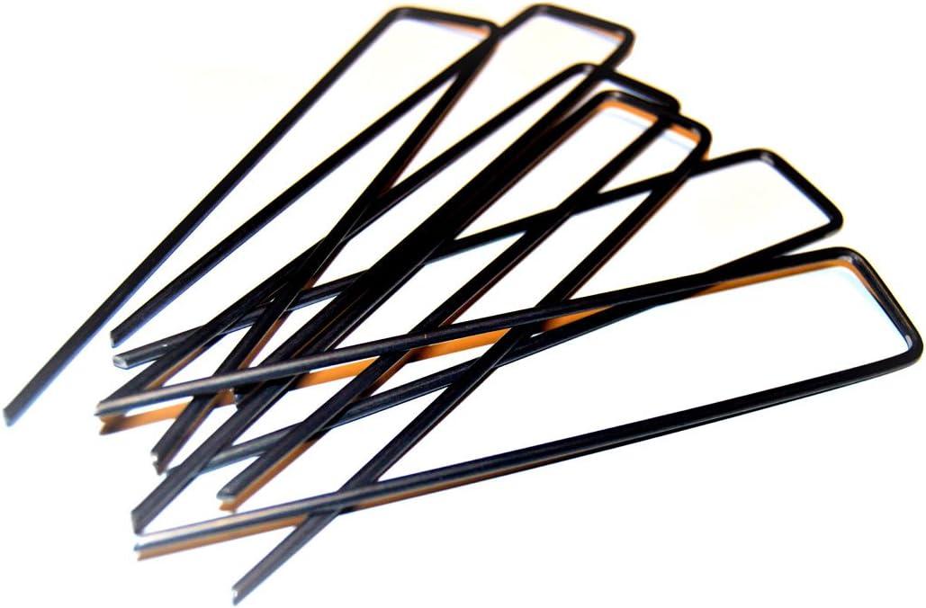 Piquetas largas en forma de U, 155 x 30 mm, 100 unidades, para fijar telas o lonas al suelo: Amazon.es: Jardín