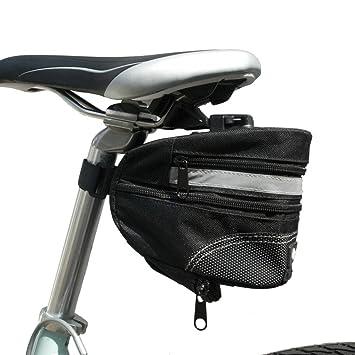 BTR - Alforja Bolsa Grande para Sillín de Bicicleta - Bolsa Extensible para Bicicleta con Cinta Reflectante de Alta Visibilidad y Hebilla de ...