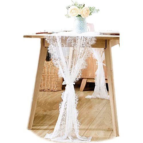 boxan 30x120 inch white classy lace table runneroverlay with rose vintage embroidered rustic