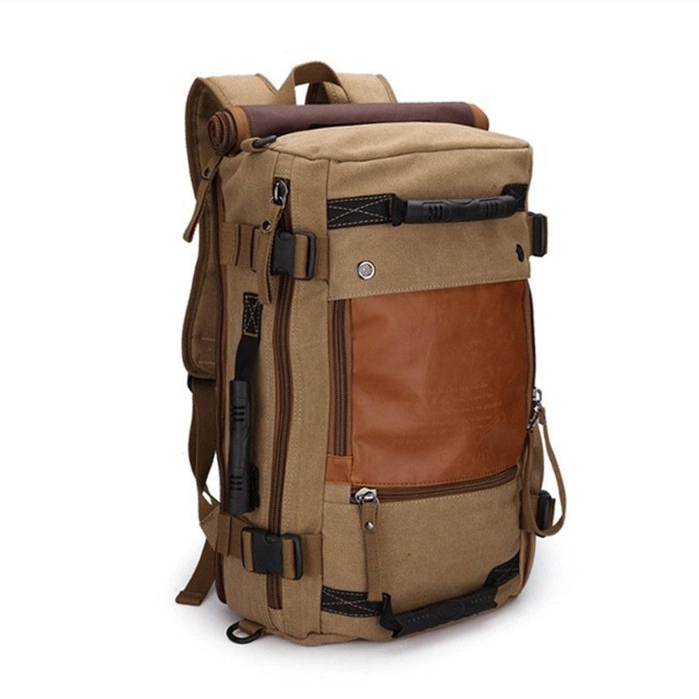Amazon.com : Ibagbar Canvas Backpack Travel Bag Hiking Bag Camping ...