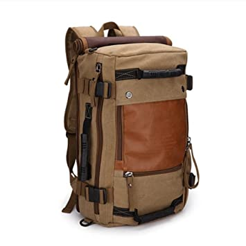 Amazon.com : Ibagbar Canvas Backpack Travel Bag Hiking Bag Camping ...