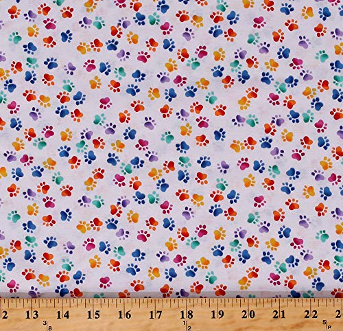 Cotton Paw Prints Paws Dogs Animals Pets Multi-Colored Pawprints on White Cotton Fabric Print by The Yard (D485.36)