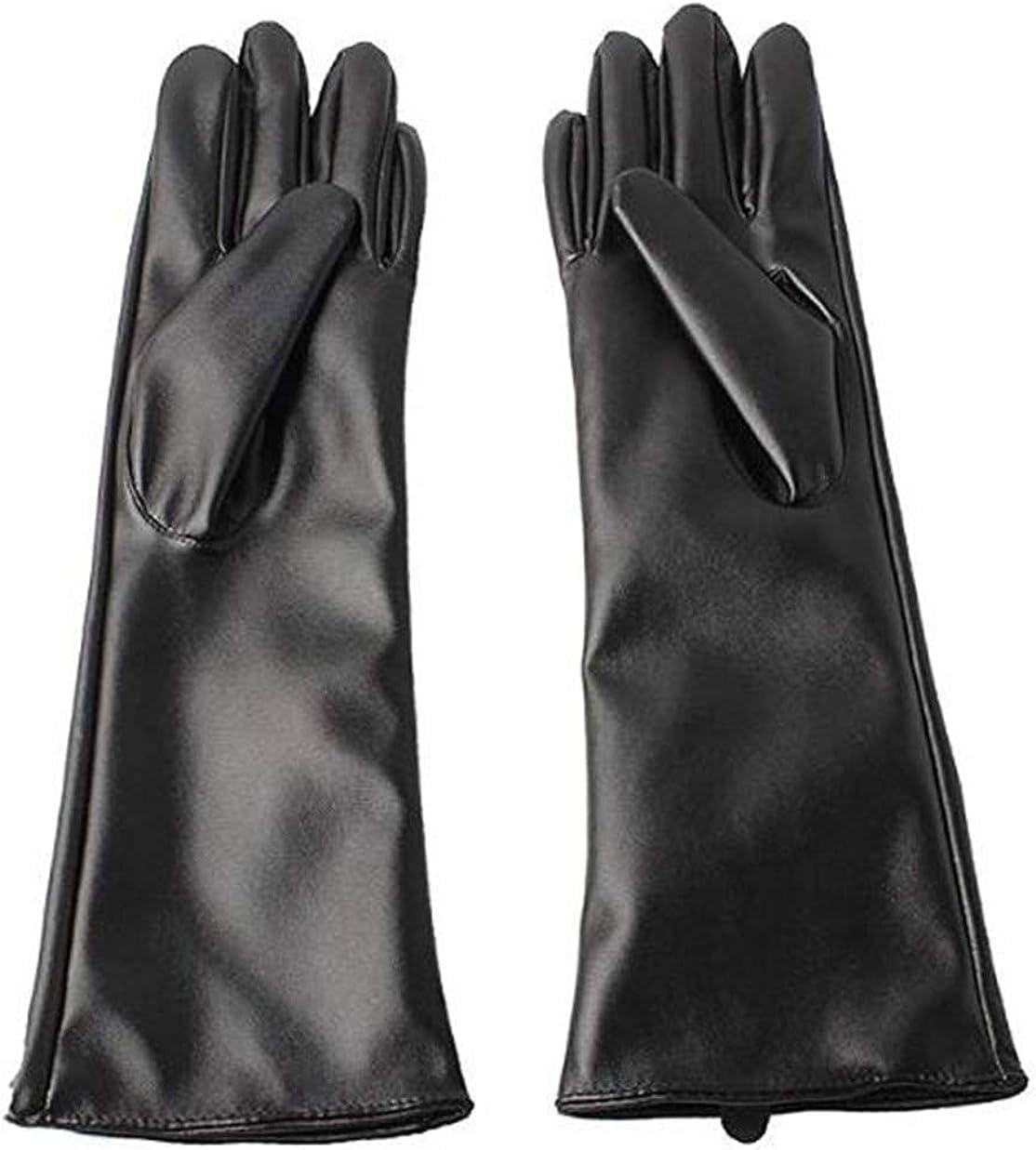 Black Sugar - Par de guantes largos de encaje de piel sintética negro con cordones góticos sexy punk rock victoriano disfraz transparente 40 cm de longitud
