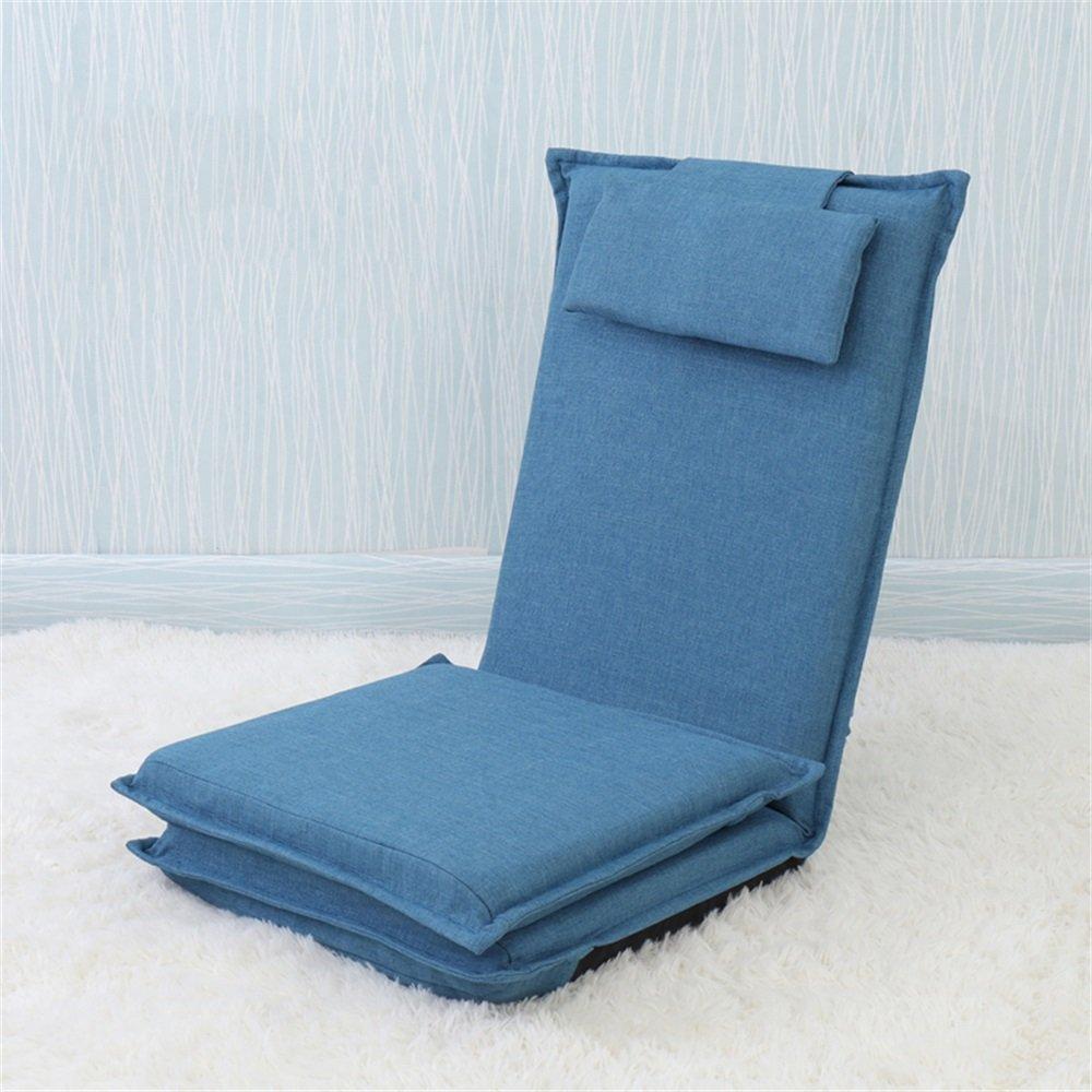 ベンチ 床の椅子のベッドコンピュータの椅子の背もたれの怠惰な単一の小さなソファ折り畳み式の寮の窓のスポンジ床のソファー (A++) (色 : 濃紺) B07DFFTWV6 濃紺 濃紺