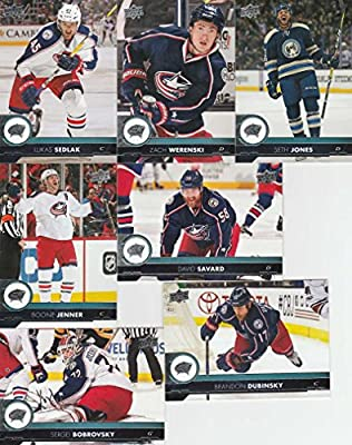 2017-18 Upper Deck Hockey Series 1 Columbus Blue Jackets Team Set of 7 Cards: Brandon Dubinsky(#51), David Savard(#52), Lukas Sedlak(#53), Sergei Bobrovsky(#54), Seth Jones(#55), Zach Werenski(#56), Boone Jenner(#57)