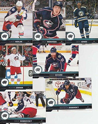2017-18 Upper Deck Complete Columbus Blue Jackets Team Set of 13 Cards: Brandon Dubinsky(#51), David Savard(#52), Lukas Sedlak(#53), Sergei Bobrovsky(#54), Seth Jones(#55), Zach Werenski(#56), Boone Jenner(#57), Cam Atkinson(#301), Artemi Panarin(#302), Alexander Wennberg(#303), Ryan Murray(#304), Nick Foligno(#305), Jack Johnson(#306)