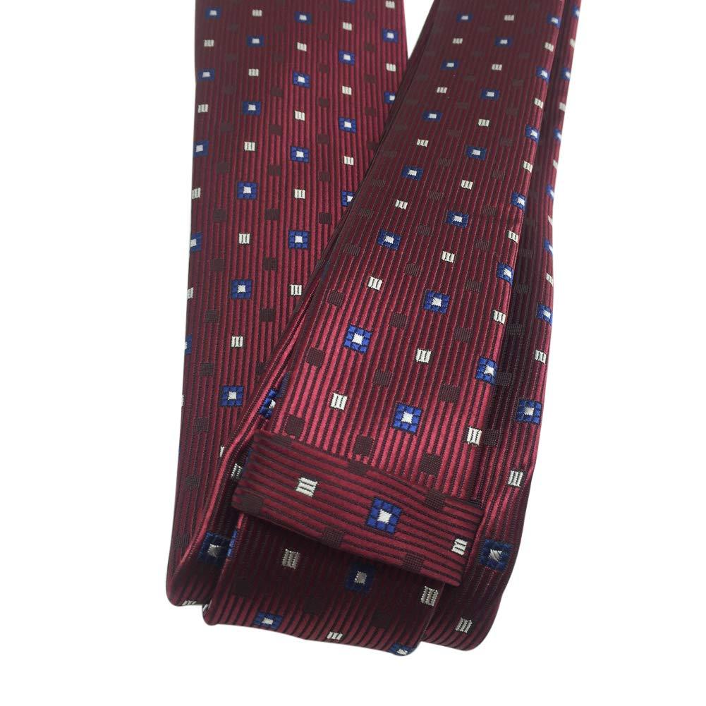 AINOW Mens Classic Skinny Tie Fashion Woven Silk Necktie Beige Red Black Plaid