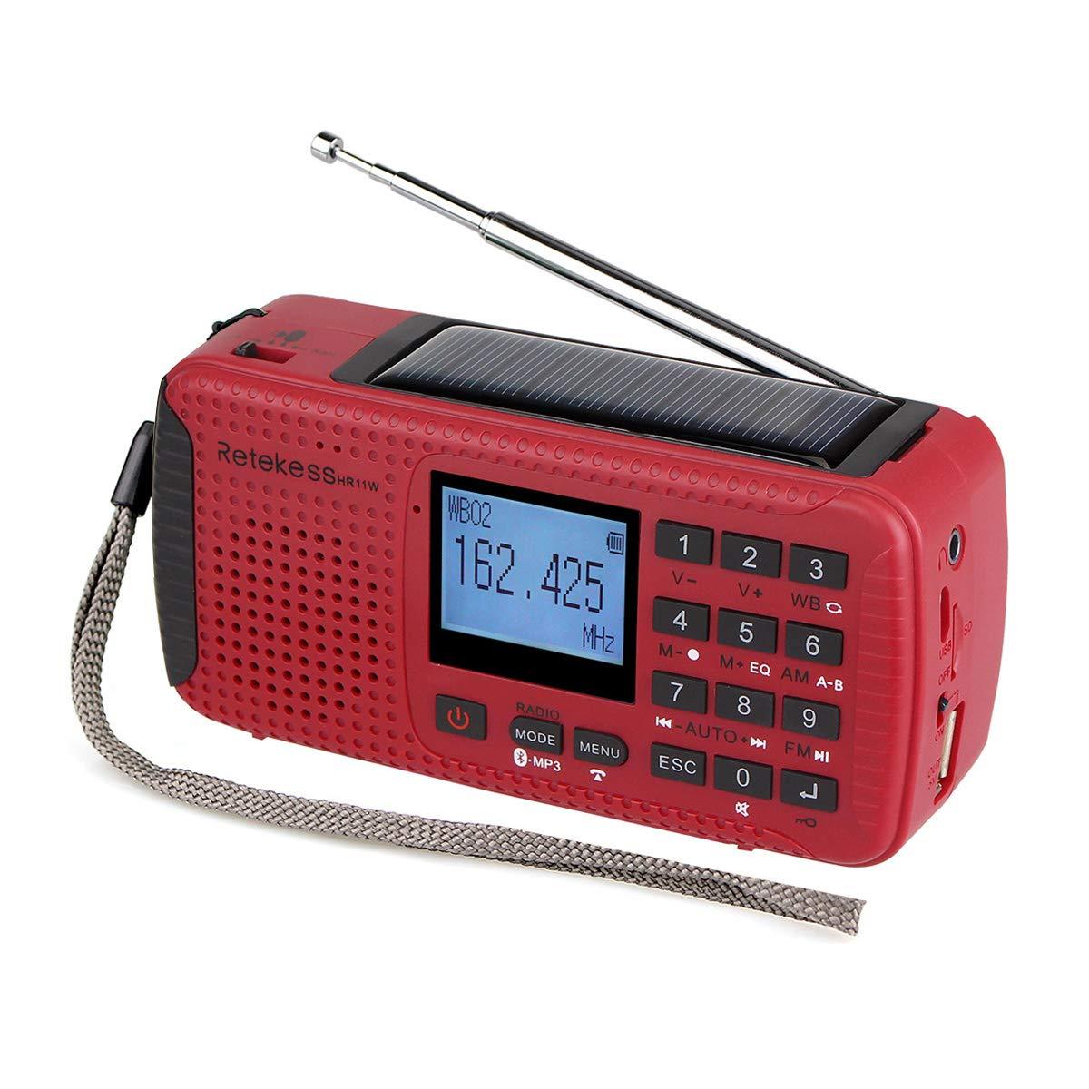 Retekess HR11W Weather Radio NOAA AM FM Emergency Radio Solar Power Dynamo Hand Crank Wind Up with Alarm Clock Wireless MP3 Player Digital Recorder Flashlight Outdoor Camping(Red) HR-11W