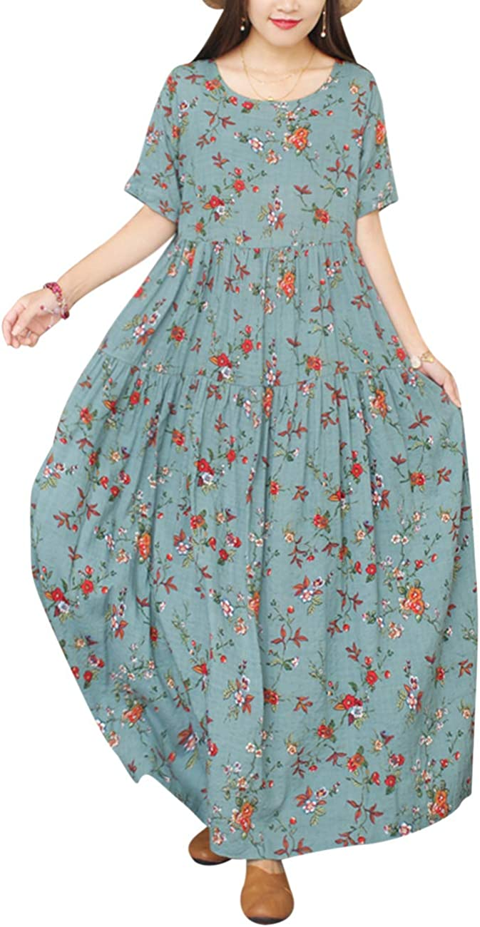 YESNO Women Casual Loose Bohemian Short Sleeve Floral Dress Long Maxi Summer Beach Swing Dress/Pockets EJF