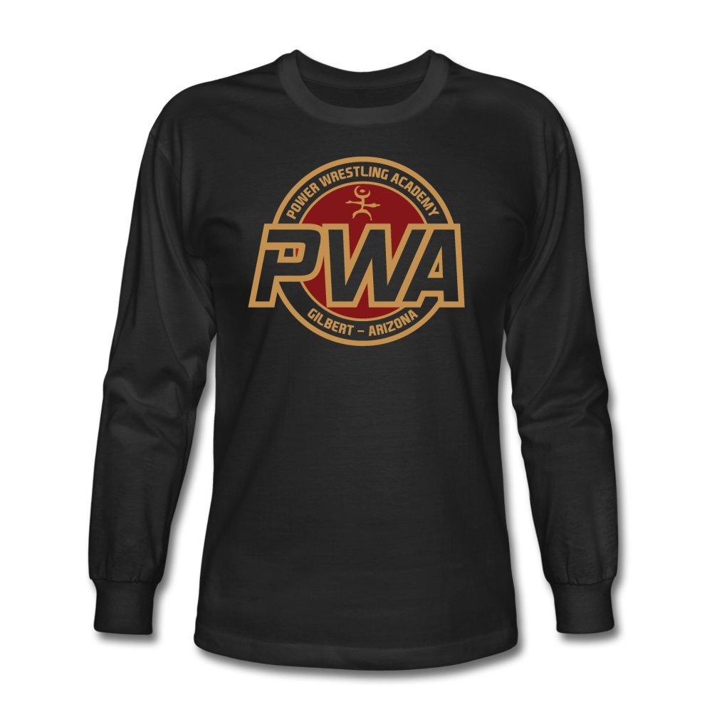 ATHLETE ORIGINALS Men's Long Sleeve T-Shirt Power Wrestling Academy Pwa Badge by Cb Dollaway M Black