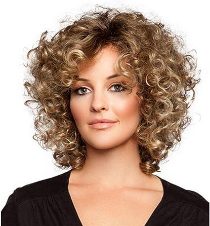XYLUCKY Moda mujer pelo corto rizado ondulado humano pelucas llenas + redecilla (marrón)