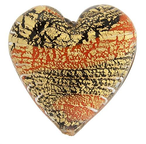 Murano Glass Beads Orange Ca'd'oro Flat Focal Hearts Striped 1 Piece - Murano Glass Focal Bead