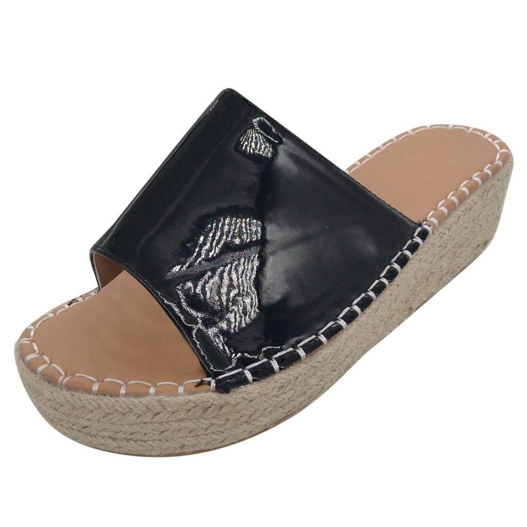 Wedge Slide Sandals for Women - Open Toe Espadrilles Platform Slip On Slippers Roman Beach Summer Sandals (Black, 255mm- US:8)