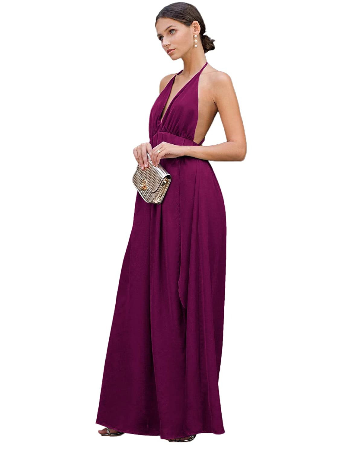 abf1186011 SheIn Women s Sexy Satin Deep V Neck Backless Maxi Party Evening Dress at  Amazon Women s Clothing store