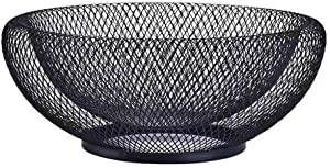 Metal Mesh Countertop Fruit Basket Small Candy Bowl LittleMU Black Round Decorative Bowl for Kitchen Counter - 10 Inches