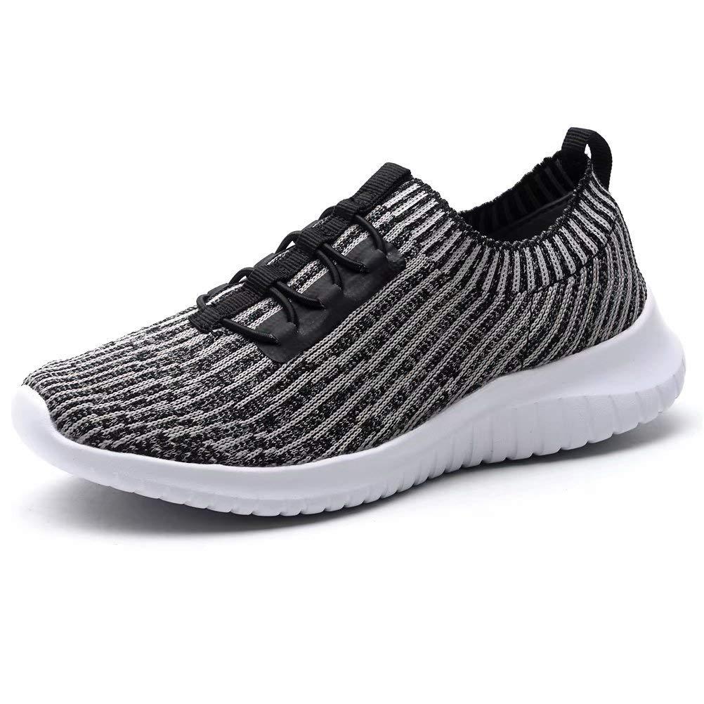 KONHILL Women's Lightweight Athletic Running Shoes Walking Casual Sports Knit Workout Sneakers, Khaki, 40