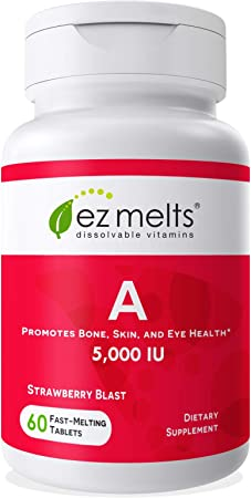 EZ Melts A as Retinol, 5,000 IU, Immune Support, Sublingual Vitamins, Vegan, Zero Sugar, Natural Strawberry Flavor, 60 Fast Dissolve Tablets