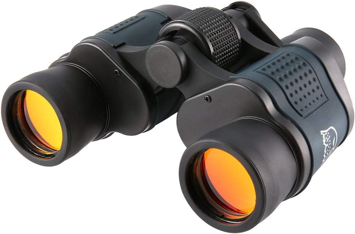nbvmngjhjlkjlUK 1000M HD Telescopio de binoculares de Caza Profesional Visión Nocturna para Senderismo Viajes Trabajo de Campo Silvicultura Protección contra Incendios 60x60 (Negro)