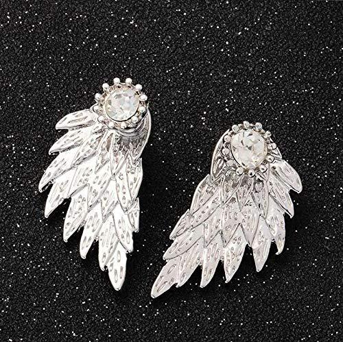 Crookston Fashion Women Silver/Gray Angel Feather Wing Earrings Rhinestone Stud Jewelry   Model ERRNGS - 1396  ]()