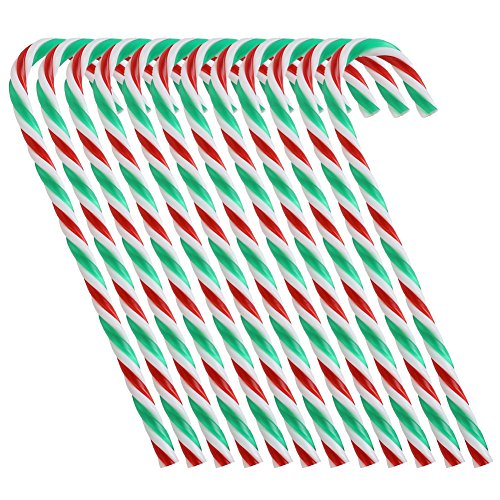 Boieo Plastic Candy Canes Christmas Tree Hanging Ornaments, 12pcs (Green+White+Red)